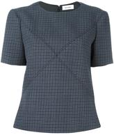 Courreges crisscross stitching houndstooth top