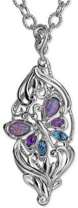Carolyn Pollock Multi-Gemstone Butterfly Pendant Necklace (2-1/5 ct. t.w.) in Sterling Silver