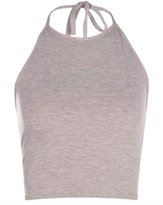 Fashion Box Womens Plain Halter Neck Crop Top