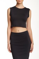 Lush Cropped Knit Sleeveless Muscle Tee (Juniors)