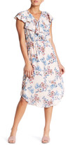 Bobeau Floral Ruffle Midi Dress