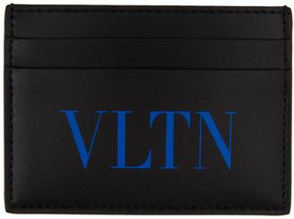 Valentino Black and Blue Garavani VLTN Card Holder