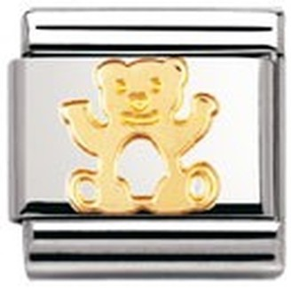 Nomination Composable Classic Land Animals Bear Stainless Steel and 18K Gold