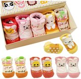 Fly-love 5pairs 0-10 months Baby Anti Slip Socks Infant Newborn Turn Cuff Ankle Sock