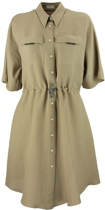 Brunello Cucinelli Fluid Viscose And Linen Twill Shirt Dress With shiny Tab Pockets