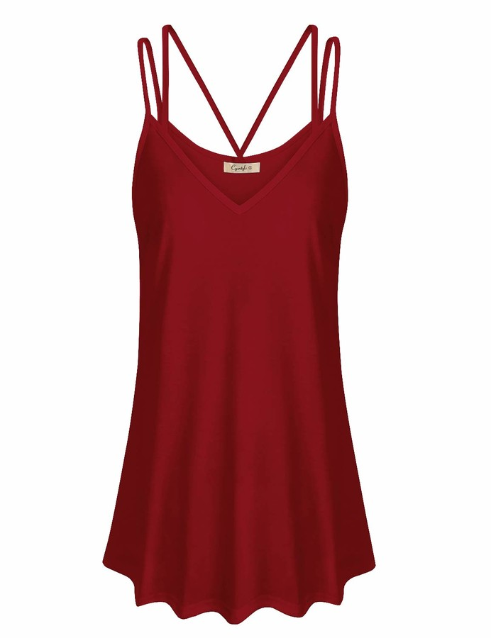 Cyanstyle Womens Summer Lace V Neck Spaghetti Strap Flowy Camisole Tunic Tank Top