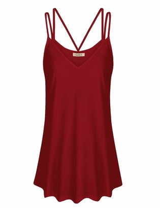 Cyanstyle Summer Tops for Women 2019 Women's Sleeveless Fashion Scalloped Tunics Flowy Spaghetti Strap Camisole Dressy Long V Neck Tanks Ladies Cami for Work Office Burgundy Large