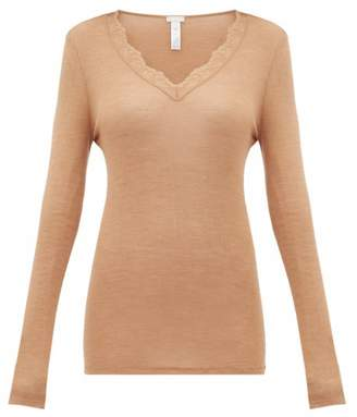 Hanro Woolen Lace Long Sleeved Top - Womens - Brown