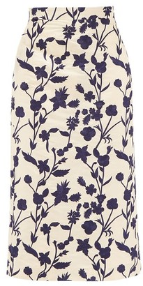 Brock Collection Floral-embroidered Shantung Pencil Skirt - Ivory Multi