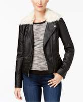 Celebrity Pink Juniors' Faux-Fur-Collar Faux-Leather Jacket