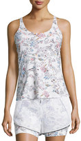 Lucas Hugh Inca Cutout-Back Fitted Tank, White Peru Print