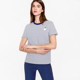 Paul Smith Women's Striped White T-Shirt With 'Rabbit' Logo
