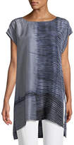 Eileen Fisher Indigo-Printed Sheer Silk Tunic