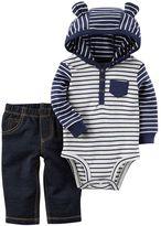 Carter's Baby Boy 3D Ear Hooded Striped Bodysuit & Faux-Denim Pants Set