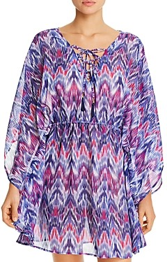 Tommy Bahama Ikat Mirage Lace-Front Tunic Swim Cover-Up