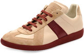 Maison Margiela Replica Low-Top Leather & Suede Sneaker, Beige/Bordeaux