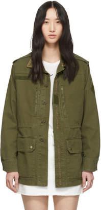 Saint Laurent Khaki Embroidered Military Jacket