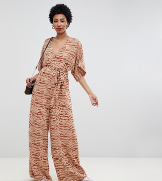 Glamorous Tall jumpsuit with kimono sleeves in subtle zebra-Beige