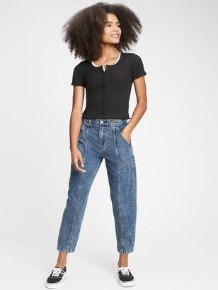 Gap Teen High-Rise Crop Barrel Jeans