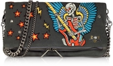 Zadig & Voltaire Broderie Elephant Gray Canvas Foldable Clutch