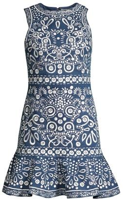 Alice + Olivia Rapunzel Embroidered Flounce Mini Dress