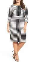 Gabby Skye Optic Stripe Sheath Dress (Plus Size)