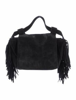 Elena Ghisellini Leather Fringe-Accented Crossbody Bag Black