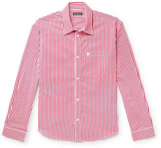 Balenciaga Logo-Embroidered Striped Cotton-Poplin Shirt