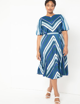 ELOQUII Puff Sleeve Striped Dress