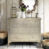Graham and Green Embossed White Metal Chest Of Drawers