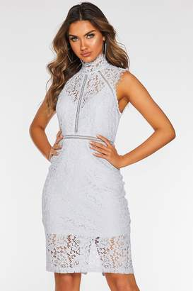 Quiz Pale Blue Lace High Neck Midi Dress