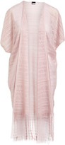 Lvs Collections LVS Collections Women's Kimono Cardigans PINK - Pink Geometric Fringe-Accent Lace Kimono - Women