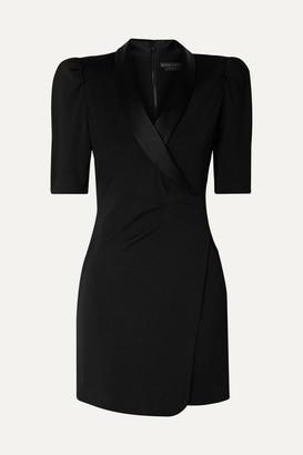 Alice + Olivia Remi Wrap-effect Satin-trimmed Stretch-jersey Mini Dress - Black