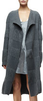Narciso Rodriguez Open-Front Fringe Long Coat, Granite