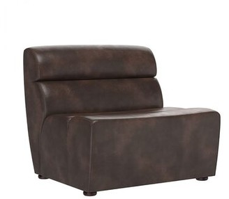 """Latitude Run Duras 34"""" W Tufted Faux leather Convertible Chair Upholstery Color: Brown Faux Leather"""