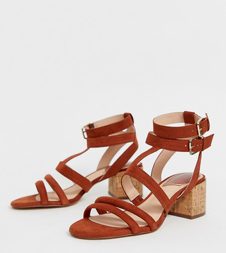 Stradivarius multi strap block heel sandals in tan