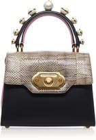 Dolce & Gabbana Pearl Embellished Leather and Python Bag