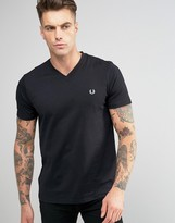 Fred Perry V Neck T-Shirt in Black