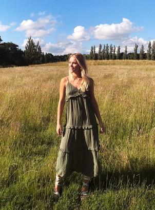 Miss Selfridge PETITE Khaki Plain Crinkle Maxi Dress