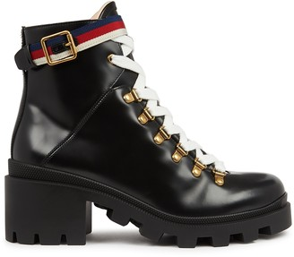 Gucci Trip black leather ankle boots