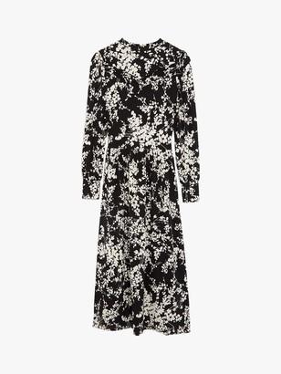 Oasis Shadow Floral Print Midi Dress, Black/Multi