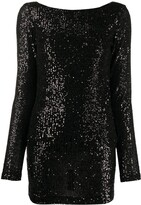 In The Mood For Love cowl-back long-sleeved sequin mini dress