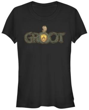 Fifth Sun Marvel Women's Groot Halloween Pumpkin Logo Short Sleeve Tee Shirt