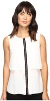 Ivanka Trump Sleeveless Double Layer Georgette Top with Contrast Trim
