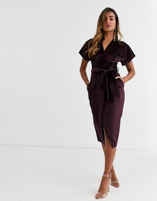 Closet London wrap tie velvet midi dress in plum