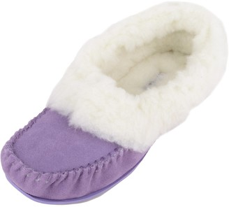 SNUGRUGS Womens Luxury Lambswool Suede Moccasin Slipper with Wool Cuff & Rubber Sole - Purple - 3 UK