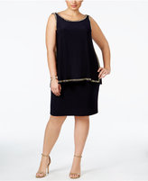 Betsy & Adam Plus Size Beaded Popover Shift Dress