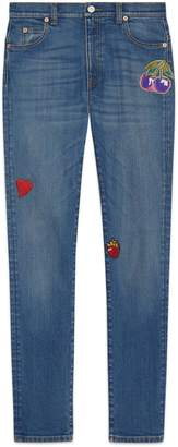 Gucci Denim skinny trousers with patches