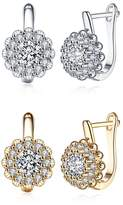 Earrings for Women Fashion Jewelry Clip-on for Girls Shinning Flower Diamonds Charms by PRUNUS