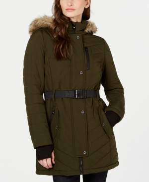 Michael Kors Michael Active Belted Hooded Faux-Fur-Trim Puffer Coat